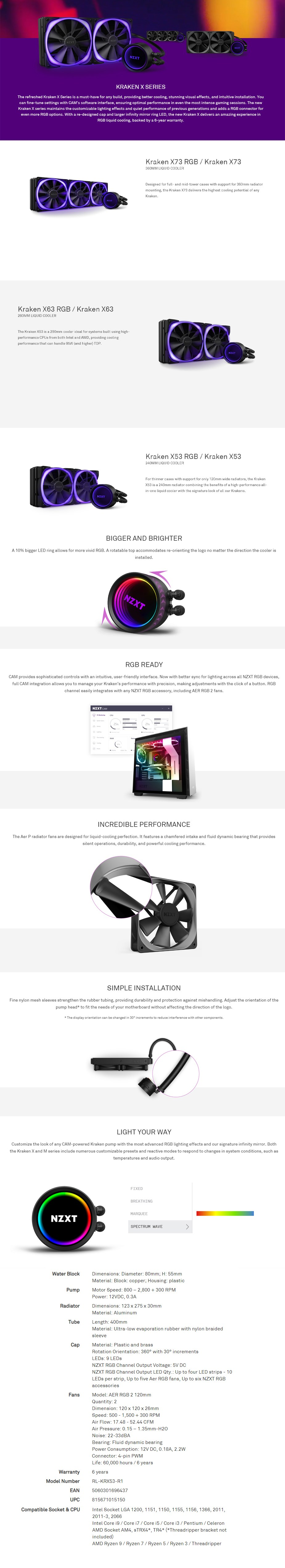 NZXT Kraken X53 240mm RGB AIO Liquid CPU Cooler - Overview 1