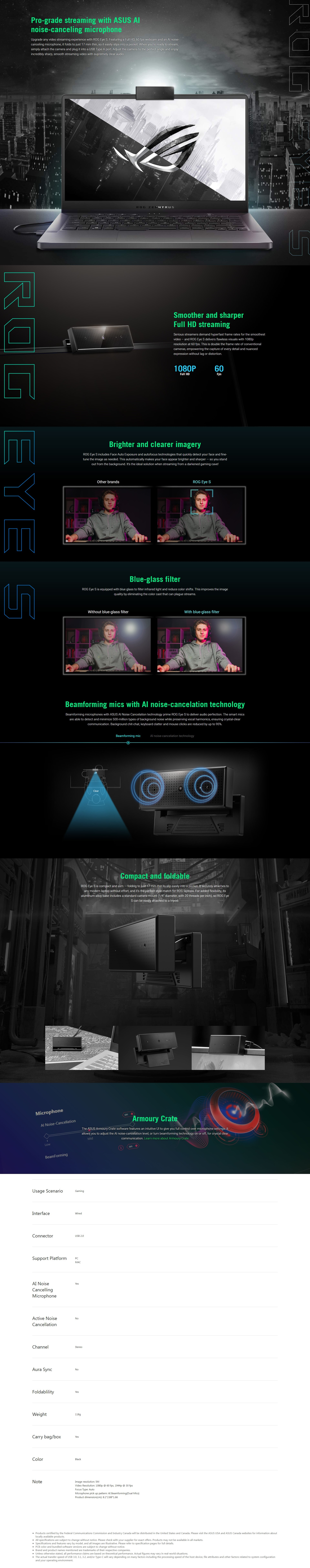 A large marketing image providing additional information about the product Asus ROG Eye S Webcam - Additional alt info not provided